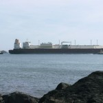LNG tanker leaving waterway