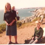 Anne with a young Peter and baby Joanne on the coast path