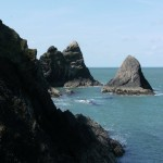 Sea stacks at Ciebwr Bay