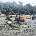 Replacement of stepping stones on one side of crabbing bridge