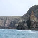Rock pinnacle in seacliffs between St. Ann's Head and Westdale Bay